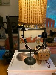 Vintage Candelabra / Candle Holder 9 1/2 By 11 In Wrought Ironrusticsteam Punk