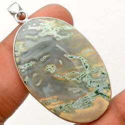 Natural Horse Canyon Moss Agate 925 Sterling Silver Pendant Jewelry Ap62200