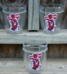 Lot Of 3 Vintage Ole Miss Rebels Drinking Glasses With Colonel Rebel - New