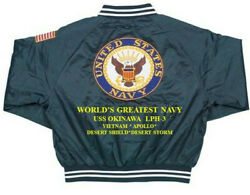 Uss Okinawa Lph-3 Medical Corps Navy Veteran Embroidered 2-sided Satin Jacket