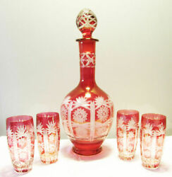 Antique Bohemian Carafe Set Water Bottle And 4 Glass Cups Handmade Drinks Set