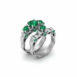 Art Nouveau Green Emerald 3 Stone And Solitaire Matching Lesbian Wedding Rings
