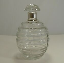 Magnificent French Art Deco Crystal And Sterling Silver Decanter Signed Keller