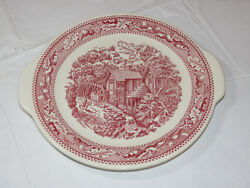Memory Lane Royal Ironstone Cake Plate Platter With Handles Red Made In Usa