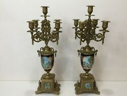 Pair Vintage Brevettato Brass And Porcelain Candelabras, Made In Italy, 19 1/2 T