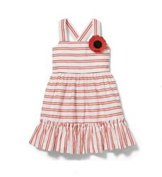 NWT Janie and Jack Girls Striped Poppy Dress Size 10 red white $69
