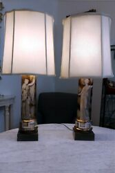 Unusual Pair Of Italian Classical Modern Table Lamps Attributed To Fornasetti