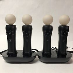 Sony Playstation 3 Ps3 Move Four 4 Motion Controllers And Two 2 Charger Docks