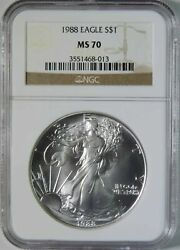 1988 American Silver Eagle Ase 1oz .999 Coin Ngc Graded Ms70