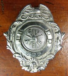 Turn Of The Century 1908 Fire Dept Badge Number 522 Obsolete