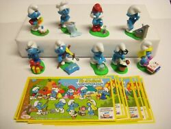 Kinder Surprise Set Smurfs Pitufos Puffi Ferrero Figures Cake Toppers +9 Papers