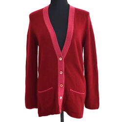 98a 38 Cc Button Front Opening Long Sleeve Cardigan Red Ak46334