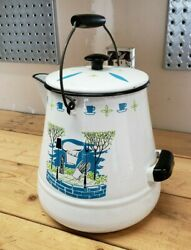 Vtg Enamel Cowboy Coffee Pot Kettle White Barbecue Picnic Design Blue And Green