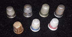 7 Vintage Thimbles German Austrian Advertising Copper Collectible Lot Red Blue