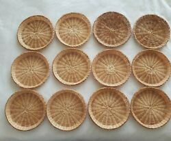 Paper Plate Holders Woven Wicker Rattan Bamboo Baskets Vintage Travel Camping Rv