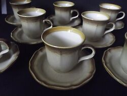 8 Tea Cups And Saucers, Mikasa Whole Wheat E8000 Brown Stoneware Oven To Table