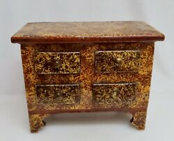 Antique Miniature Redware Pottery Four Drawer Chest - 80941