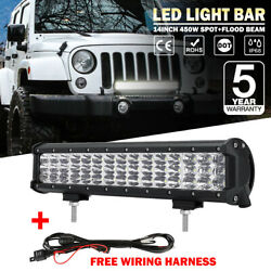 14inch 450w Led Light Bar Tri-row Combo Beam For Jeep Ford 4wd Offroad Suv Atv