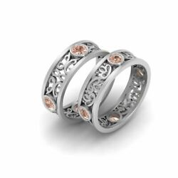 Champagne Diamond Celtic Matching Eternity Band Set His And Hers Promise Bands