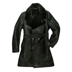 Cockpit Usa The Highview Shearling Trench Coat Black Usa Made