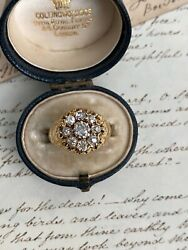 Antique Victorian 18k Diamond Cluster Ring - 2.17 Total Carat Weight