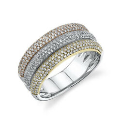14k Tri Color Gold Diamond Pave Dome Ring Cocktail Right Hand Wide Band 0.88 Ct
