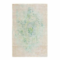6'1x8'10 Touch Of Green Pure Silk With Textured Wool Hand Knotted Rug R58437