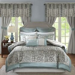 Madison Park Essentials Brystol 24 Piece Room In A Bag Faux Silk Comforter Jacqu