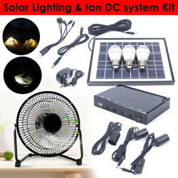 Solar Power Panel Usb Charging Led Light + Fan Kit For Home Outdoor Camping Usa