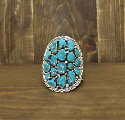 Vintage Navajo Sterling Silver And Turquoise Cuff Bracelet By Richard T. Thomas