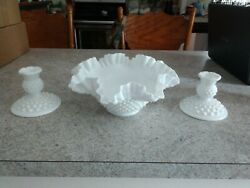 Fenton White Hobnail Milk Glass 10 Bowl And Pair Of Candle Holders
