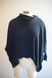 Free People Beach Women#x27;s Small World Traveler Cowl Split Back Black Sweater $17.49