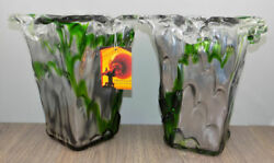 Pair Of Adam Jablonski Crystal Art Glass Vases, Signed W/ Tag Silver Green 10
