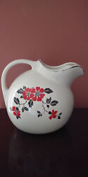 VINTAG* HALL RED POPPY* BALL WATER PITCHER JUG