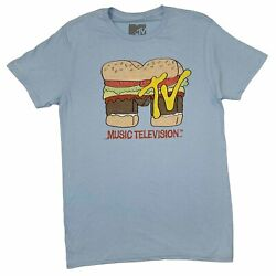 Mens MTV Music Television 80s 90s Retro Vintage Baby Blue Burger T Shirt Tee New