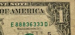 1 Dollar Bill 2009 Well Circulated Double Triple Serial Number E 888 36 333 D