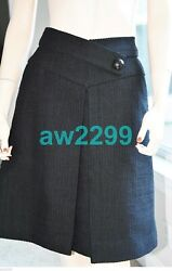 15p Nwt Authentic Front Pleated Tweed Skirt 38 Sold Out New Black