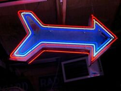 Vintage Patriotic Double Sided Neon Arrow Sign Old Patina Gas Oil Mancave Decor