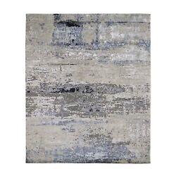 8'x9'9 Gray Abstract Design Wool And Silk Hand Knotted Oriental Rug R59303