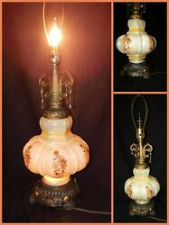 Vintage 1972 Ef And Ef Industries Tm No 537x Flowers Glass Table Lamp Night Light