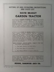 David Bradley Sears 917.5752 Garden Tractor And Plow Owners And Parts 2 Manuals