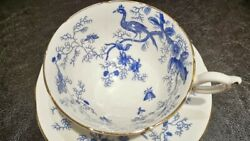 Coalport English Bone China Footed Tea Cup And Saucer Cairo White Blue Gold