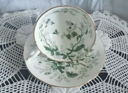 Coalport English Bone China Footed Tea Cup And Saucer Cairo White Green Gold