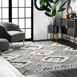Nuloom Moroccan Shag Fringe Wool Rug 5and039 X 8and039 Grey