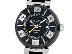 Auth Louis Vuitton Tambour In Black Gmt Q113i Ss/pvd Auto Menand039s Watcha51814