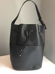 Cuyana Leather Drawstring Tote Cinch Shoulder Bucket Handbag $115.00