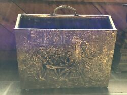 Mid Century Brass And Wood Magazine Holder With Colonial Scene