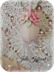 Pink Shabby Victorian Clay Roses Hanging Ornament W/ Crystal Prisms