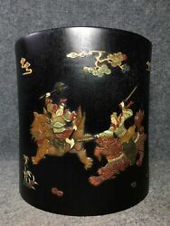 9 Old Chinese Sandalwood Gem Inlay Handcarved Will War Pine Cloud Brush Pots