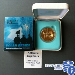 2009 5 Int Polar Year Antarctic Explorers 1oz Gold Plated Silver Proof Coin